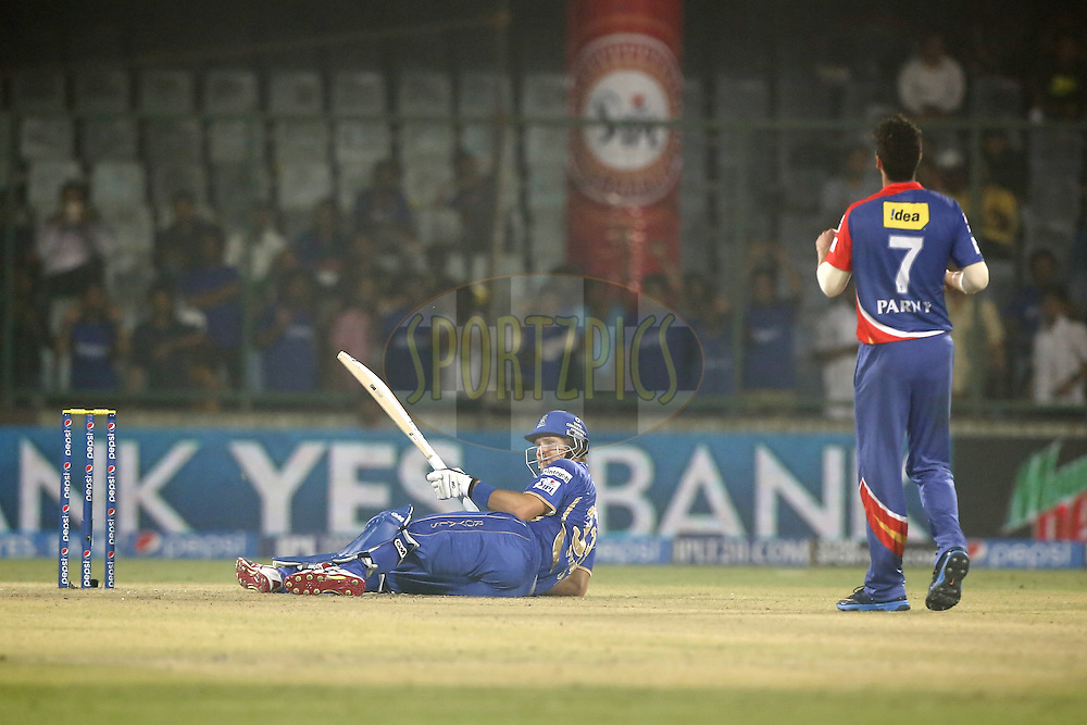 Shane Watson captain of the Rajatshan Royals during match 23 of the Pepsi Indian Premier League Season 2014 between the Delhi Daredevils and the Rajasthan Royals held at the Feroze Shah Kotla cricket stadium, Delhi, India on the 3rd May  2014<br /> <br /> Photo by Deepak Malik / IPL / SPORTZPICS<br /> <br /> <br /> <br /> Image use subject to terms and conditions which can be found here:  http://sportzpics.photoshelter.com/gallery/Pepsi-IPL-Image-terms-and-conditions/G00004VW1IVJ.gB0/C0000TScjhBM6ikg