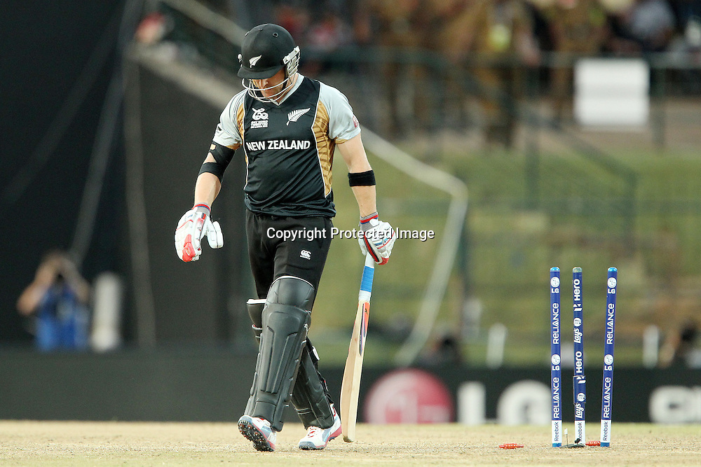 Brendon McCullum departs during the ICC World Twenty20 Super Eights match between The West Indies and New Zealand held at the  Pallekele Stadium in Kandy, Sri Lanka on the 1st October 2012<br /> <br /> Photo by Ron Gaunt/SPORTZPICS/PHOTOSPORT