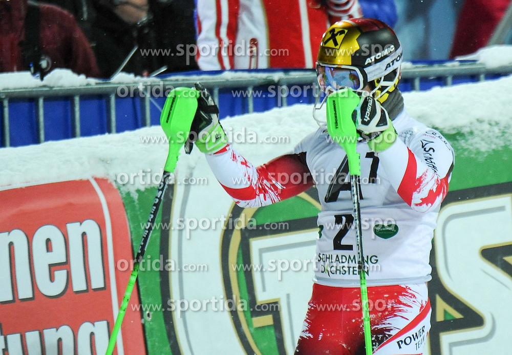 27.01.2015, Planai, Schladming, AUT, FIS Weltcup Ski Alpin, Schladming, Herren, Slalom, 2. Lauf, im Bild Marcel Hirscher of Austria // during the 2nd run of the men' s slalom of Schladming FIS Ski Alpine World Cup at the Planai in Schladming, Austria on 2015/01/27. EXPA Pictures © 2015, PhotoCredit: EXPA/ Erich Spiess