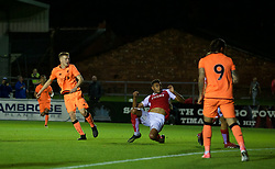 LEYLAND, ENGLAND - Friday, September 1, 2017: Liverpool's George Johnston scores the first goal during the Lancashire Senior Cup Final match between Fleetwood Town and Liverpool Under-23's at the County Ground. (Pic by Propaganda)