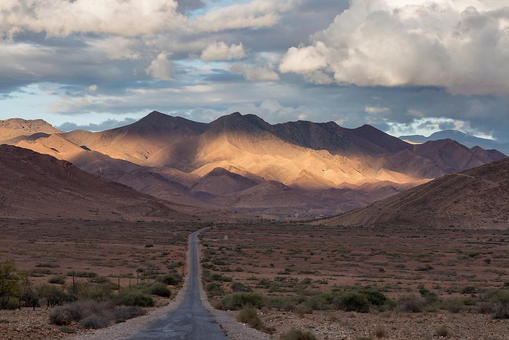 TALIOUINE, MOROCCO - October 24th 2015 - Taliouine mountain road driving landscape, Sirwa Mountain Range, Souss Massa Draa region of Morocco
