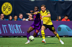CHARLOTTE, USA - Sunday, July 22, 2018: Liverpool's Rafael Camacho (left) and Borussia Dortmund's Marcel Schmelzer during a preseason International Champions Cup match between Borussia Dortmund and Liverpool FC at the  Bank of America Stadium. (Pic by David Rawcliffe/Propaganda)