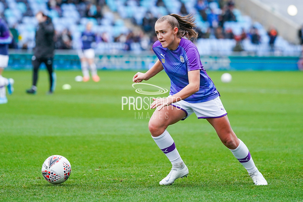 Manchester City Women forward Georgia Stanway (10) warming up during the FA Women's Super League match between Manchester City Women and West Ham United Women at the Sport City Academy Stadium, Manchester, United Kingdom on 17 November 2019.