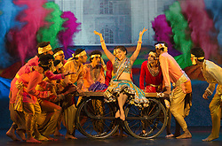 "© Licensed to London News Pictures. 08/05/2015. London, England. Ana Ilmi as Shaily at the centre. The show ""Beyond Bollywood"", written, directed and choreographed by Rajeev Goswami, with lyrics by Irfan Siddiqui and featuring an original score by Salim-Sulaiman opens at the London Palladium for 60 performances. With Ana Ilmi as Shaily, Mohit Mathur as Raghav, Sudeep Modak as Father/Ballu and Pooja Pant as Mother. Photo credit: Bettina Strenske/LNP"