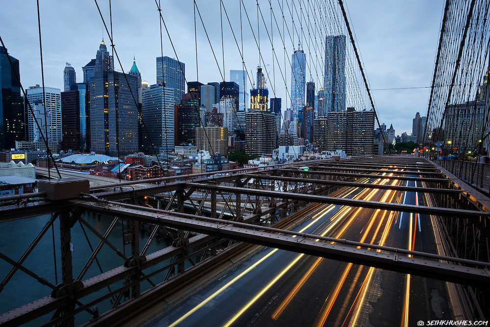 Evening sets on the Brooklyn Bridge, New York City, NY