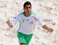 FIFA BEACH SOCCER WORLD CUP 2008 SPAIN - MEXICO   20.07.2008 Christopher FLORES (MEX) celebrates his goal to a 1-0 lead.