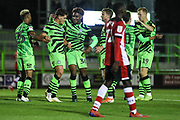 Forest Green Rovers Matty Stevens(9) scores a goal 3-2 and celebrates with his team mates  during the EFL Trophy match between Forest Green Rovers and U21 Southampton at the New Lawn, Forest Green, United Kingdom on 3 September 2019.