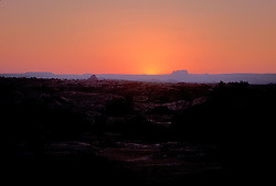 Sunset, Needles district of Canyonlands National Park, looking west.