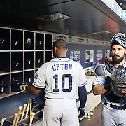 Justin Upton, San Diego Padres, in the dugout preparing to bat during the New York Mets Vs San Diego Padres MLB regular season baseball game at Citi Field, Queens, New York. USA. 29th July 2015. Photo Tim Clayton