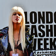 Fashionista attend London Fashion Week SS20 at 180 Strand on 17 September 2019, London, UK.