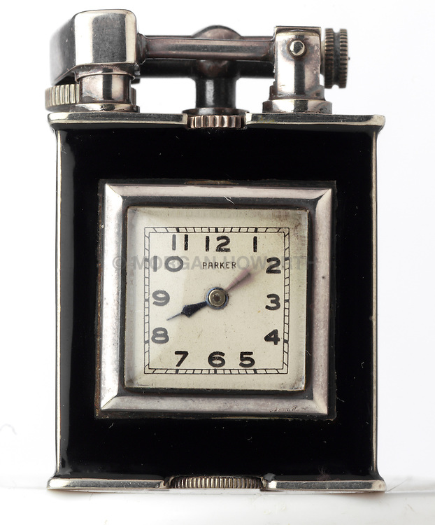 Art Deco Cigarette lighter with watch inside