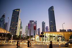 DOHA, QATAR - Thursday, December 19, 2019: Skyscrapers at West Bay Doha  during the FIFA Club World Cup Qatar 2019 tournament. (Pic by David Rawcliffe/Propaganda)