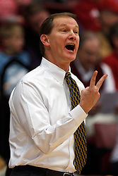Feb 19, 2012; Stanford CA, USA; Oregon Ducks head coach Dana Altman argues a call on the sidelines against the Stanford Cardinal during the first half at Maples Pavilion.  Mandatory Credit: Jason O. Watson-US PRESSWIRE