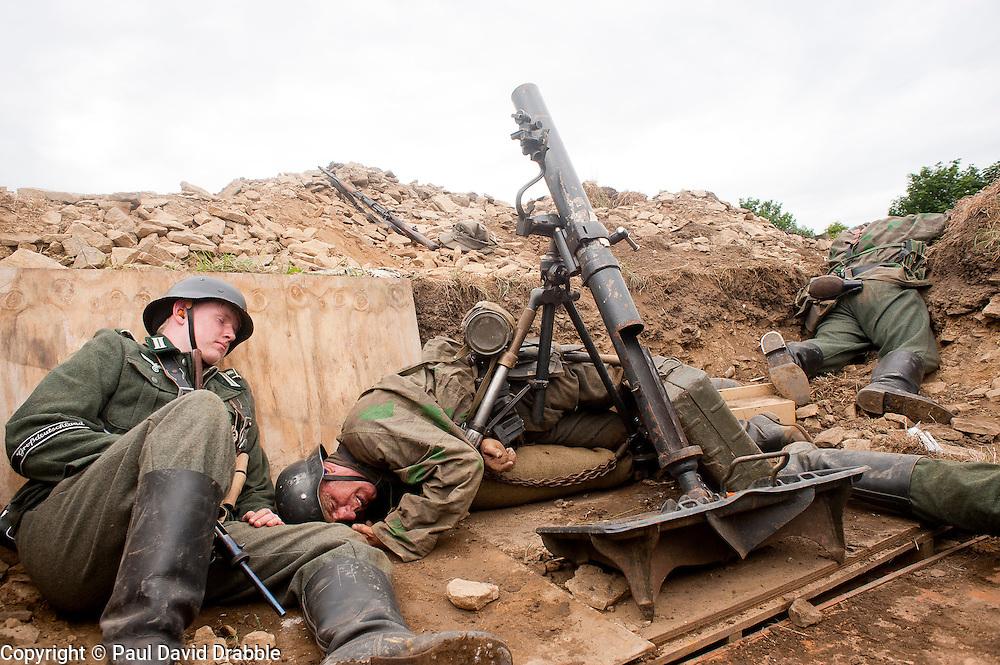 Reenactors portray panzer grenadiers from the elite German Gro&szlig;deutschland Division during he Spam 1940s Wartime Weekend Heckmondwike <br /> July 2011