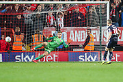 Doncaster Rovers midfielder Tommy Rowe (10) takes and misses a penalty kick during the EFL Sky Bet League 1 second leg Play-Off match between Charlton Athletic and Doncaster Rovers at The Valley, London, England on 17 May 2019.