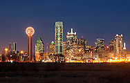 The Dallas skyline shines brightly on a mid-winter evening