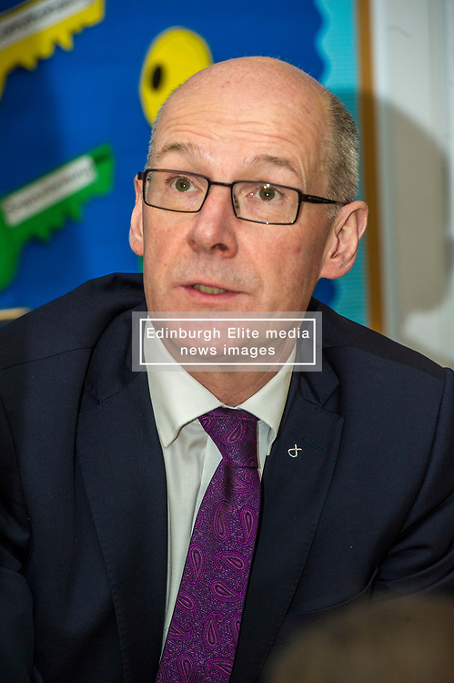 Pictured: John Swinney<br /> Today Deputy First Minister John Swinney visited Niddrie Mill Primary School to announce the publication of Scottish school statistics such as teacher numbers, ratios and class sizes. <br /> <br /> <br /> Ger Harley   EEm 12 December 2017