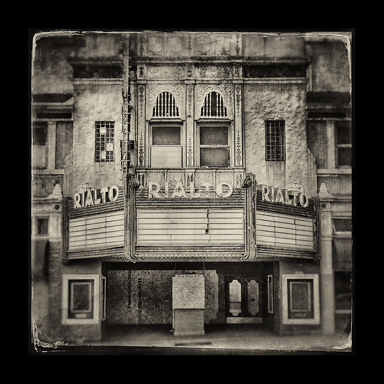 "Charles Blackburn image of the Rialto Theatre in South Pasadena, CA. 5x5"" print."