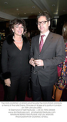The HON.DOMINIC LAWSON and his wife the HON.ROSA LAWSON a friend of the late Diana, Princess of Wales at a party in London on 15th January 2002.