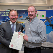 24.05.2018.       <br /> The Limerick Institute of Technology with Atlantic Air Adventures and funding from the Aviation Skillnet presented over forty certificates to Aviation professionals who have completed the Certificate in Aviation, The Aircraft Records Technician Level 7 and Part 21 Design, Level 7.<br /> <br /> Pictured at the event was Jim Gavin, The Irish Aviation Authority and Manager of the Dublin Football Team who presented, Roger Hall with their cert.<br /> <br /> LIT in partnership with Atlantic Air Adventures, CAE Parc Aviation, Part 21 Design and industry experts such as Anton Tams, GECAS, Don Salmon, CAE Parc Aviation and Mick Malone, Part 21 Design have developed and deliver these key training programmes with funding for aviation companies provided by The Aviation Skillnet.<br /> <br /> . Picture: Alan Place