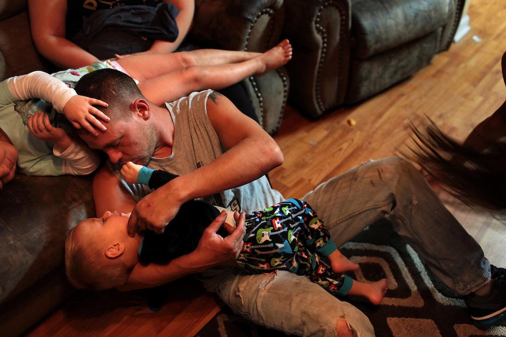 Jason Melerine and his family in St Bernard, LA on November 14, 2010.