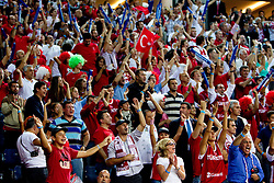 Fans of Turkey during the second semifinal basketball match between National teams of Serbia and Turkey at 2010 FIBA World Championships on September 11, 2010 at the Sinan Erdem Dome in Istanbul, Turkey. Turkey defeated Serbia 83 - 82 and qualified to finals.  (Photo By Vid Ponikvar / Sportida.com)