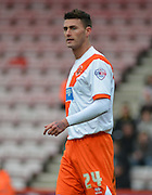 Blackpool's Gary Madine during the Sky Bet Championship match between Bournemouth and Blackpool at the Goldsands Stadium, Bournemouth, England on 14 March 2015. Photo by Mark Davies.