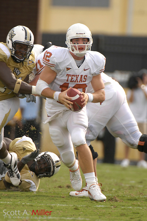 Sept. 15, 2007; Orlando, FL, USA; Texas Longhorns quarterback (12) Colt McCoy during his team's game against Central Florida at Bright House Stadium. Texas won the game 35-32. ..©2007 Scott A. Miller