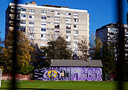 MARIBOR, SLOVENIA - Monday, October 16, 2017: Graffiti on a pitch near NK Maribor's Stadion Ljudski vrt ahead of the UEFA Champions League Group E match between NK Maribor and Liverpool. (Pic by David Rawcliffe/Propaganda)