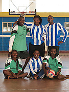 A team photo after a game of sitting volley ball at the National Stadium in KIgali, Rwanda