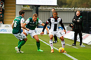 Simeon Jackson of St Mirren making his debut for St Mirren shields the ball from Ryan Porteous of Hiberninan FC & Lewis Stevenson of Hiberninan FC during the Ladbrokes Scottish Premiership match between St Mirren and Hibernian at the Simple Digital Arena, Paisley, Scotland on 29th September 2018.