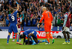 Nathan Dyer of Leicester City (C) lies injured on the pitch after scoring his sides third goal  - Mandatory byline: Jack Phillips/JMP - 07966386802 - 13/09/2015 - SPORT - FOOTBALL - Leicester - King Power Stadium - Leicester City v Aston Villa - Barclays Premier League