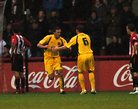 Photo: Tony Oudot/Richard Lane Photography. Brentford v Rochdale. Coca-Cola Football League Two. 01/11/2008. <br /> Rory McArdle celebrates with Ciaran Toner after scoring Rochdales first goal
