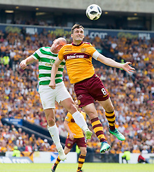 Motherwell's Carl McHugh (right) and Celtic's Scott Brown during the William Hill Scottish Cup Final at Hampden Park, Glasgow.