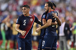July 7, 2017 - Harrison, New Jersey, U.S - Costa Rica defender JOHNNY ACOSTA (2) celebrates Costa Rica forward MARCO UREÃ'A (21) goal during CONCACAF Gold Cup 2017 action at Red Bull Arena in Harrison New Jersey Costa Rica defeats Honduras 1 to 0. (Credit Image: © Brooks Von Arx via ZUMA Wire)