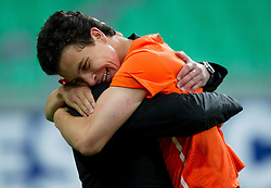 Thom Haye of Netherlands celebrates after winning the UEFA European Under-17 Championship Final match between Germany and Netherlands on May 16, 2012 in SRC Stozice, Ljubljana, Slovenia. Netherlands defeated Germany after penalty shots and became European Under-17 Champion 2012. (Photo by Vid Ponikvar / Sportida.com)