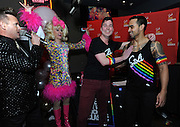 "Patrik Gallineaux, left, LGBT Ambassador for Stoli, and ""Showbiz Spitfire"" Paige Turner, announce Mark Murphy, second right, bartender for El Vez, as The Stoli Key West Cocktail Classic New York Regional Champion, Wednesday, Feb. 24, 2016, at Boxers HK in New York, as runner-up Davidson Adams looks on.  Murphy will go on to compete for the 2016 Champion title in Key West during Key West Pride 2016. (Diane Bondareff/Invision for Stoli Vodka/AP Images)"