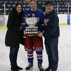 COCHRANE, ON - MAY 4: Oakville Blades celebrate their 2019 Buckland Cup Championship with Family and Friends on May 4, 2019 at Tim Horton Events Centre in Cochrane, Ontario, Canada.<br /> (Photo by Tim Bates / OJHL Images)