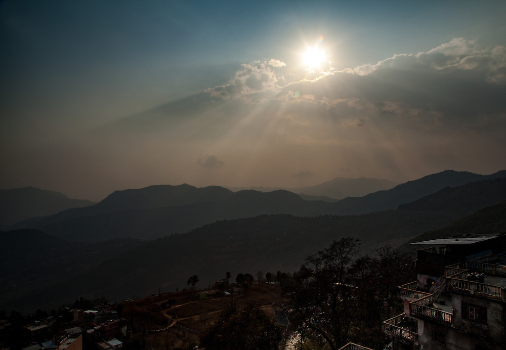 Sunset from my deck at the Hotel The White Lake in Tansen, Palpa Nepal