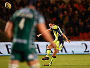 Sale Sharks stand-off AJ McGinty converts Harrison's try during the The Aviva Premiership match Sale Sharks -V- London Irish  at The AJ Bell Stadium, Salford, Greater Manchester, England on September 15, 2017. (Steve Flynn/Image of Sport)
