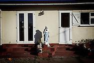 UNITED KINGDOM, Basildon: Statue of Virgin Mary  on the traveller settlement at Dale Farm near Basildon, Essex, south east England, on September 19, 2011. © Christian Minelli.