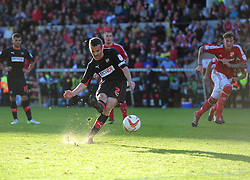 Brentford's Kevin O'Connor coverts his penalty to make it all square going in to the second leg - Photo mandatory by-line: Joe Meredith/JMP - Tel: Mobile: 07966 386802 04/05/2013 - SPORT - FOOTBALL - County Ground - Swindon - Swindon Town v Brentford - Npower League one Play Off
