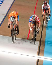 08-01-2012 WIELRENNEN: RABOBANK ZESDAAGSE: ROTTERDAM<br /> (L-R) Teun Mulder wint de sprint van Andy Lakatosh USA, Mickael Bourgain FRA<br /> (c)2012-FotoHoogendoorn.nl / Peter Schalk