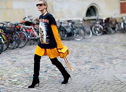 Street style, Celine Aagaard arriving at Freya Dalsojo Spring Summer 2017 show held at Borsen, in Copenhagen, Denmark, on August 10, 2016. Photo by Marie-Paola Bertrand-Hillion/ABACAPRESS.COM  | 558625_005 Copenhagn Danemark Denmark