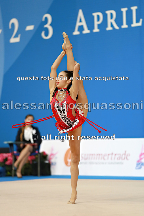 "Agiurgiuculese Alexandra during rope routine at the International Tournament of rhythmic gymnastics ""Città di Pesaro"", 03 April,2016. Alexandra is an Italian individualistic gymnast, of Romanian origins, born in Lasi, 15 January, 2001.<br />