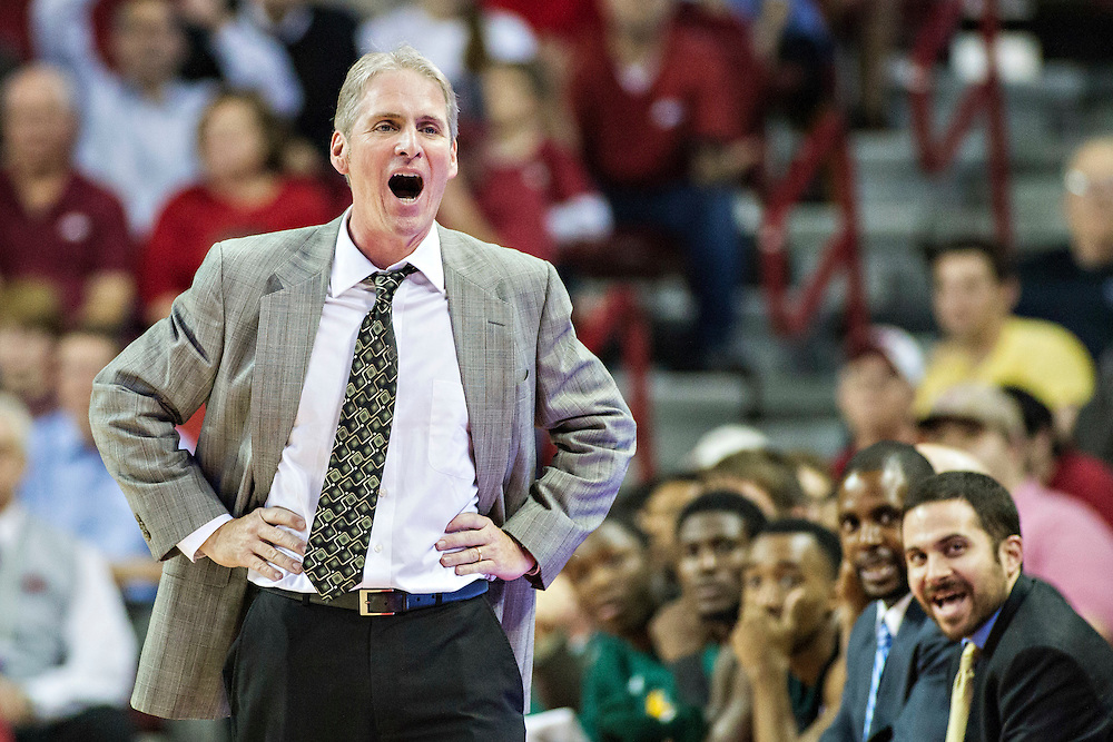 FAYETTEVILLE, AR - DECEMBER 3:  Head Coach Jim Yarbrough of the SE Louisiana Lions shows his emotions about a call during a game against the Arkansas Razorbacks at Bud Walton Arena on December 3, 2013 in Fayetteville, Arkansas.  The Razorbacks defeated the Lions 111-65.  (Photo by Wesley Hitt/Getty Images) *** Local Caption *** Jim Yarbrough