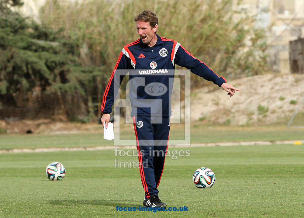 Scotland U17 manager Scot Gemmill watches on as Scotland train at the Hibernians Stadium, Paola<br /> Picture by Tom Smith/Focus Images Ltd 07545141164<br /> 17/05/2014