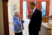 11.JUNE.2012. WASHINGTON D.C<br /> <br /> PRESIDENT BARACK OBAMA TALKS WITH BETTY WHITE IN THE OVAL OFFICE, JUNE 11, 2012.  <br /> <br /> BYLINE: EDBIMAGEARCHIVE.CO.UK<br /> <br /> *THIS IMAGE IS STRICTLY FOR UK NEWSPAPERS AND MAGAZINES ONLY*<br /> *FOR WORLD WIDE SALES AND WEB USE PLEASE CONTACT EDBIMAGEARCHIVE - 0208 954 5968*