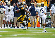 September 17, 2011: Iowa Hawkeyes wide receiver Marvin McNutt (7) tries to avoid Pittsburgh Panthers defensive back Jarred Holley (18) during the first half of the game between the Iowa Hawkeyes and the Pittsburgh Panthers at Kinnick Stadium in Iowa City, Iowa on Saturday, September 17, 2011. Iowa defeated Pittsburgh 31-27.