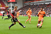 Sheffield United midfielder Mark Duffy (21) crosses ball to Sheffield United striker Billy Sharp (10) who scores  goal to go 2-0 during the EFL Sky Bet Championship match between Sheffield Utd and Reading at Bramall Lane, Sheffield, England on 21 October 2017. Photo by Ian Lyall.